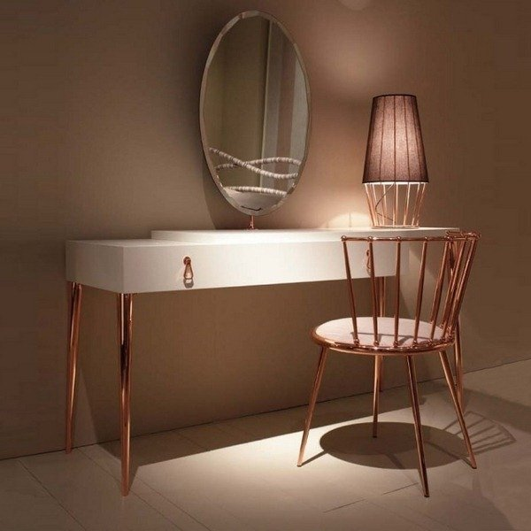 schöne wohnideen einrichtungstipps einrichtungsideen tisch konsolentisch stuhl möbel wohnidee wohnzimmer ideen kupfer garten und wohnen