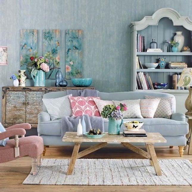 einrichtungsideen wohnzimmer gestalten möbel teppich wand tisch aus holz