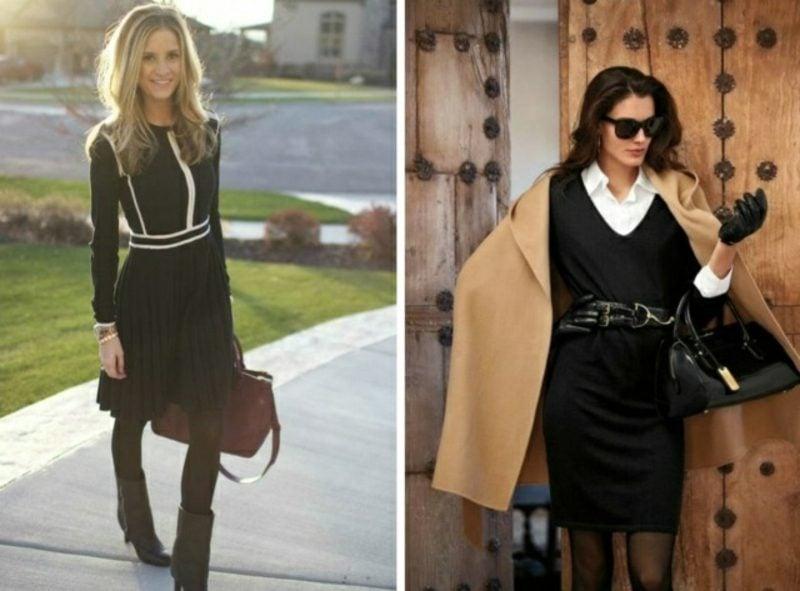 Business Casual Outfit Damen schwarzes Kleid