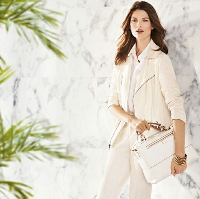Damenmode Business Casual Outfit im Weiss