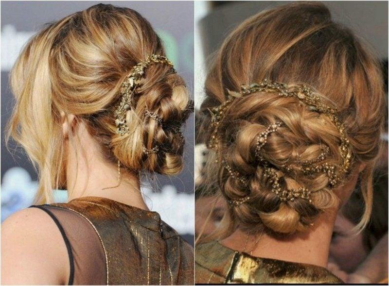 Hochsteckfrisuren lange Haare hochgesteckte Flechtfrisur mit Haarschmuck