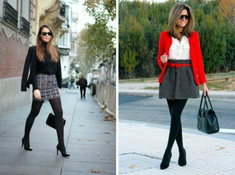 Business Casual Outfit Damen zwei Varianten rote Akzente