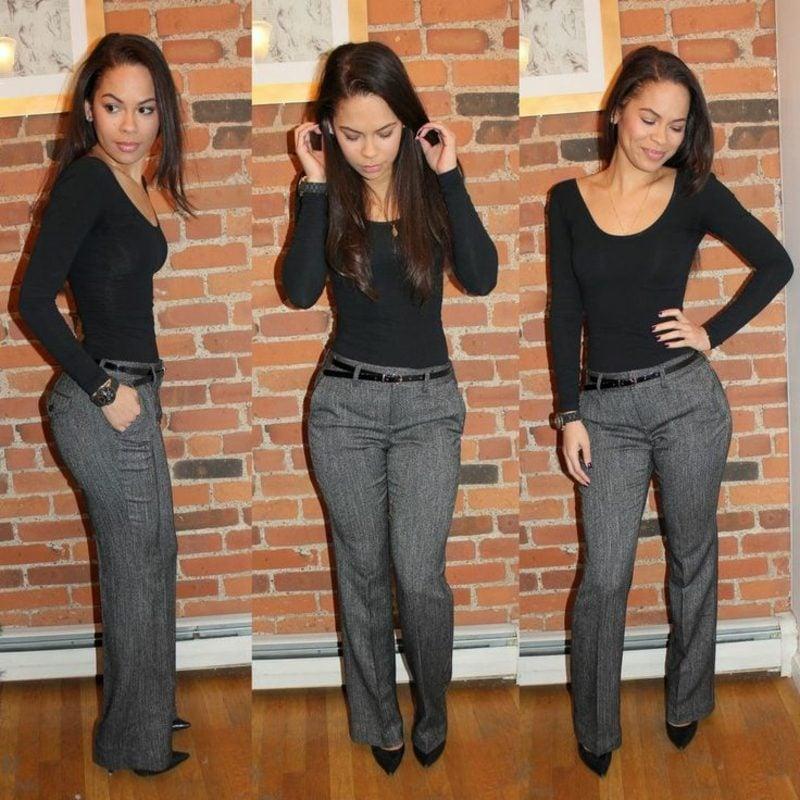 Business Casual Outfit Frau graue Flanelhose schwarze Bluse