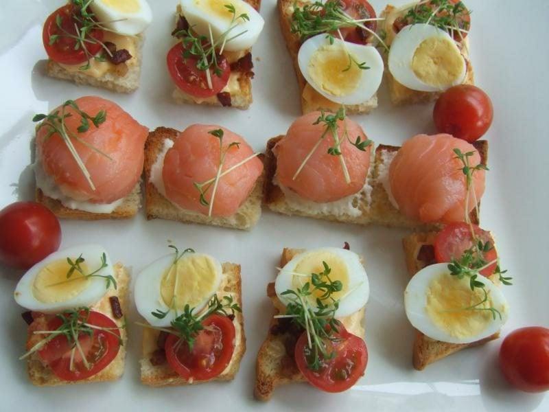 Wachteleier kochen Party Fingerfood Lachs Rezepte