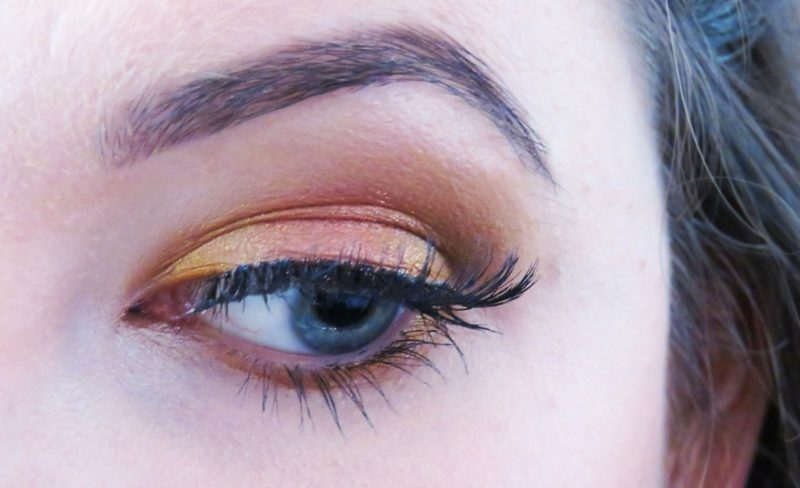 Schminktipps Augen Sommer Lidschatten bronze gelb Mascara