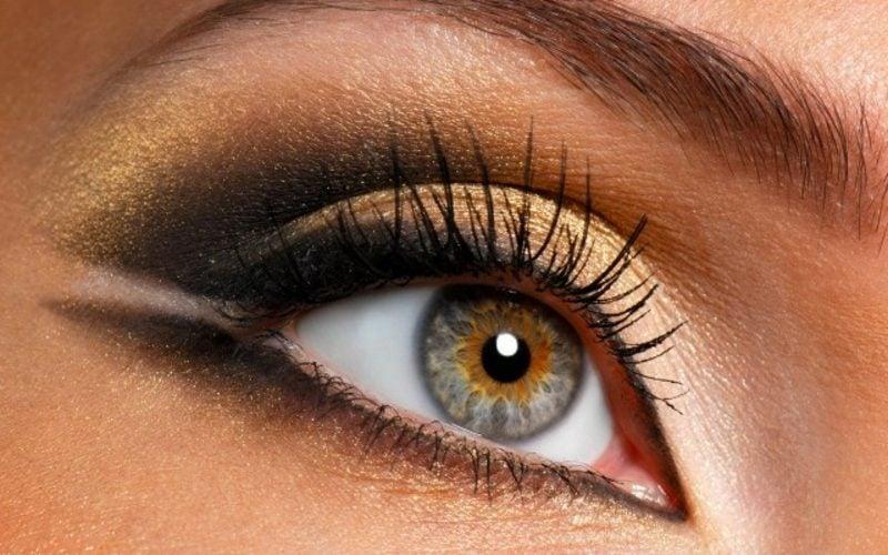Augen richtig schminken Sommer goldene Lidschatten und Eyeliner