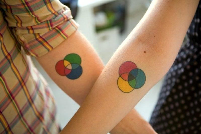 Partner tattoos Farbkreise Unterarm