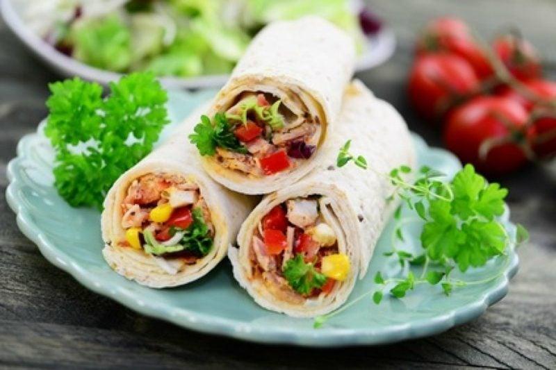 Tortilla Rezept Wraps mit Hühnerfleisch