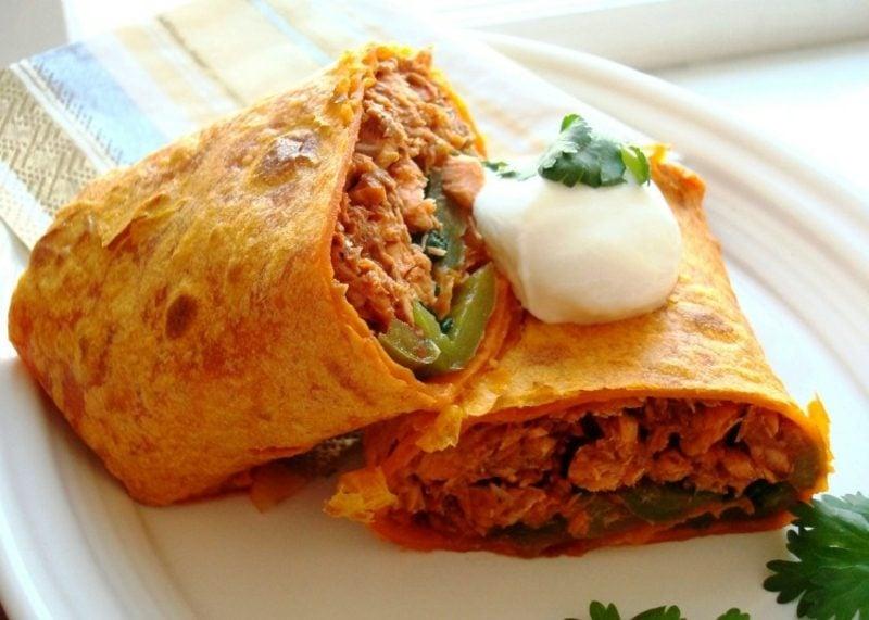Tortilla Rezept Wraps mit Lachsfüllung