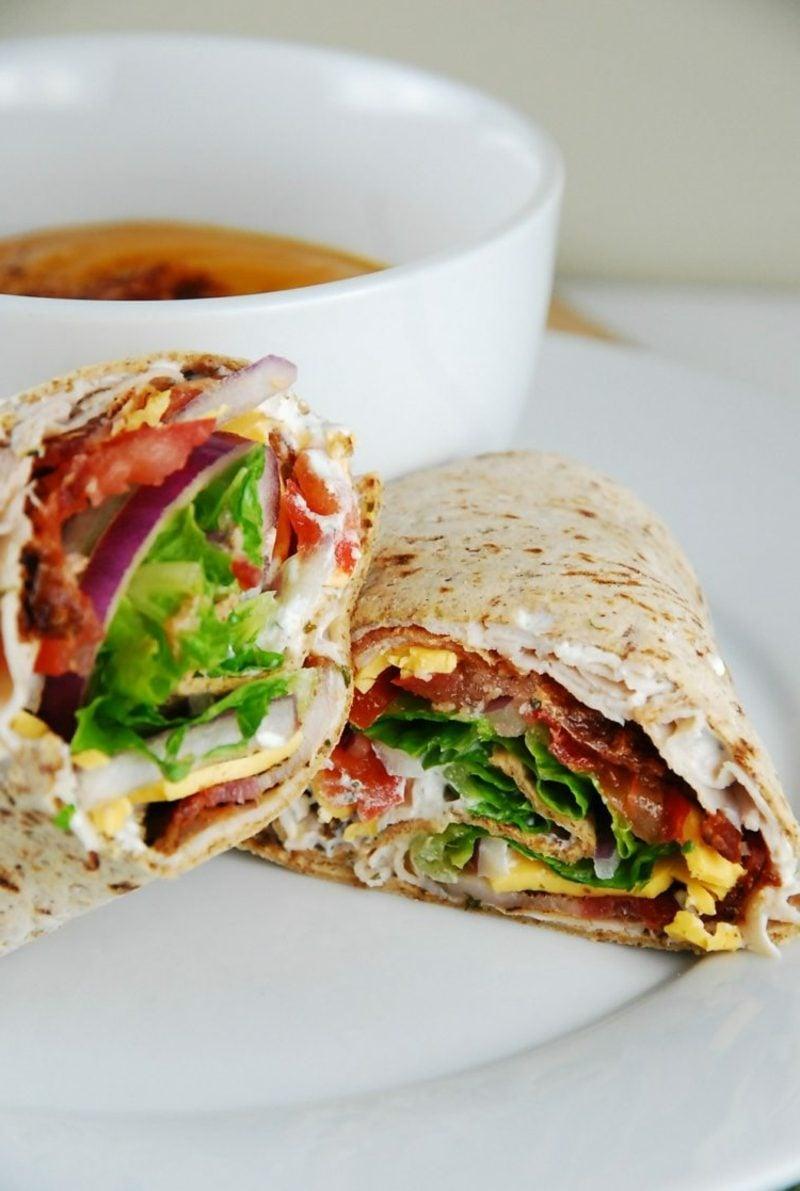 Tortilla Rezept Rollen Hühnerfleisch und Gemüse