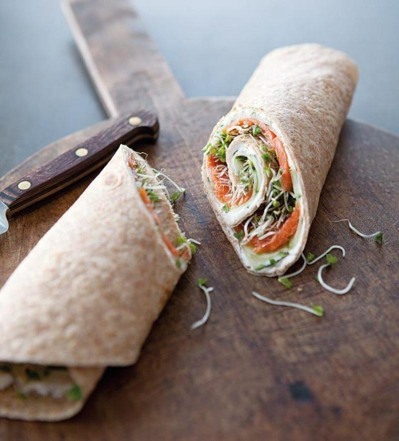 Tortilla Rezept Wraps mit Lachs und Gurke