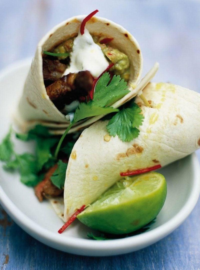 Tortilla Rezept Wraps Rinderfleisch und Quacamole