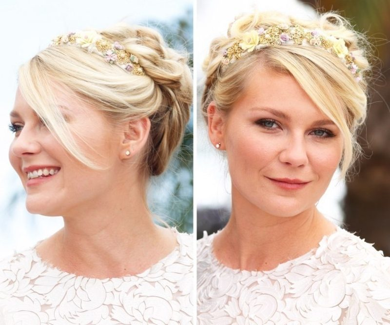 Frisuren mit Haarband Hochsteckfrisur Pony Haarband mit Blumen