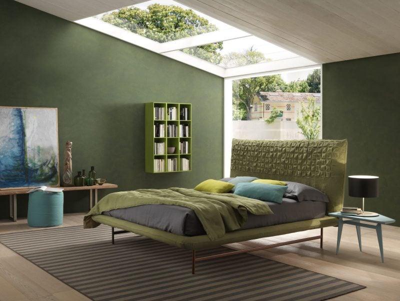 ... Schlafzimmer Gestalten Prachtvolle Wandgestaltung Schaffen Farbe Grau  Grun ...