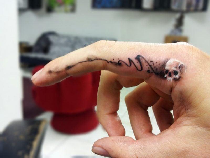 Finger Tattoo Totenkopf