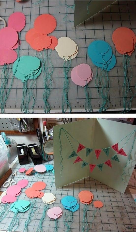 Luftballons Geburtstagskarte selber machen - Anleitung