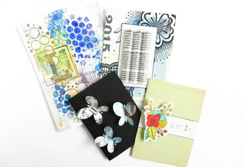 Recycling Basteln: Geburtstagskarten basteln aus Recycling Materialien