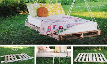 Hängebett selber bauen - Bett aus Paletten im Garten