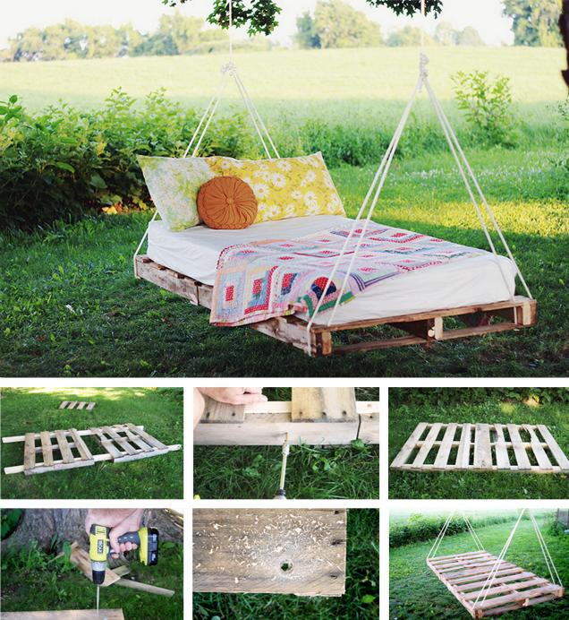 Hängebett Selber Bauen   Bett Aus Paletten Im Garten
