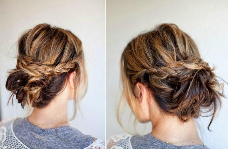 Hochsteckfrisuren Anleitung lockere Frisur lange Haare Sommer
