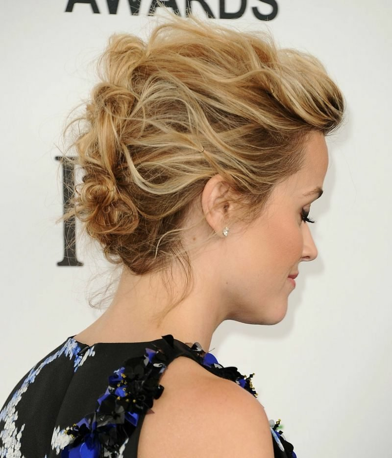 Hochsteckfrisuren kurze Haare lockig eleganter Look