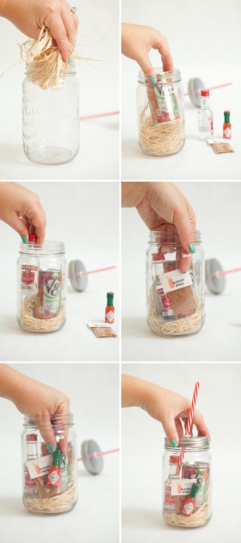 Muttertag Basteln: DIY Muttertag Geschenk Bloody Mary Cocktail im Glas Anleitung