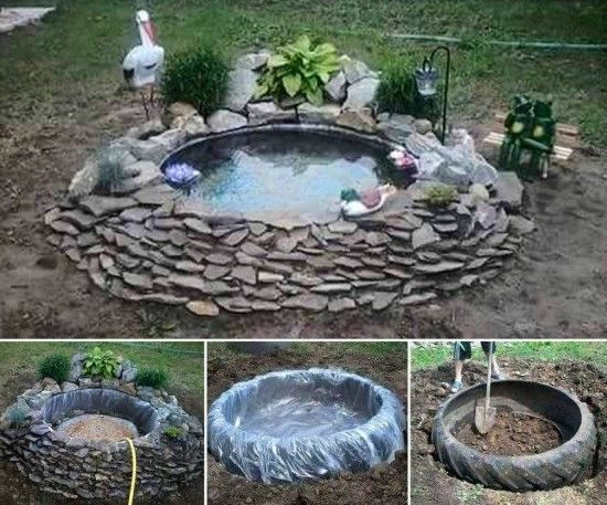 Alte autoreifen deko  Garten gestalten - Springbrunnen als Blickfang im eigenen Garten ...