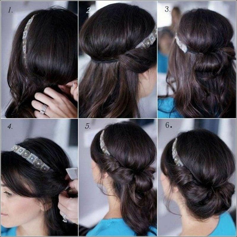 Hochsteckfrisuren Anleitung in Bildern kinderleicht Haarband