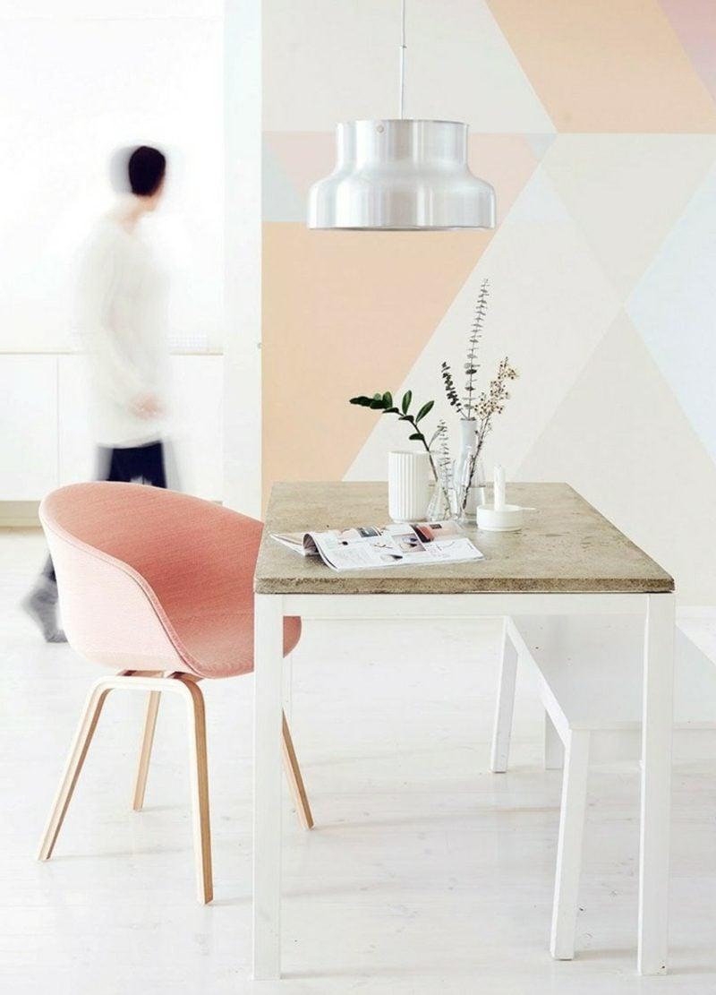 Farbe Altrosa Wand geometrische Motive modern