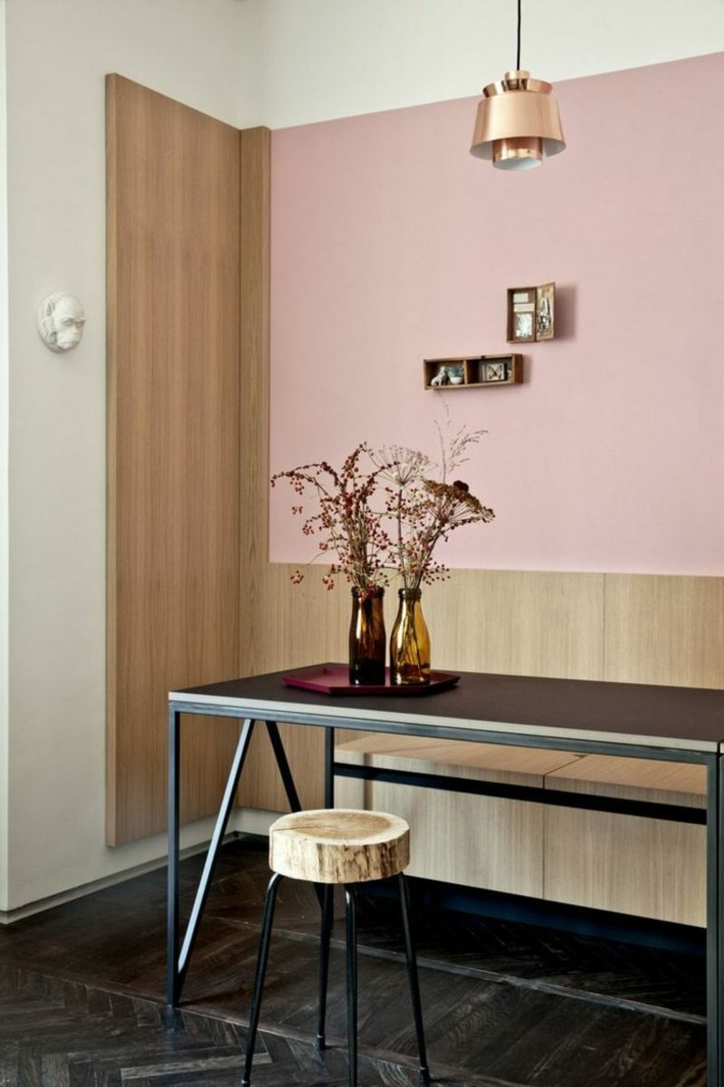 Wandfarbe Altrosa Essbereich industriell modern