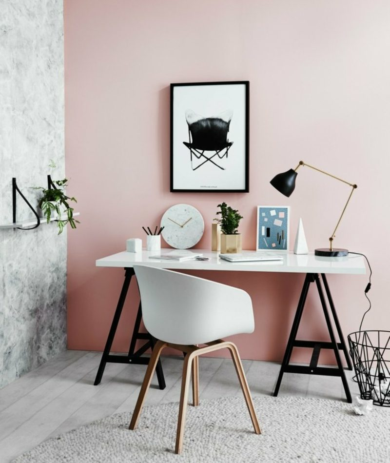 Farbe Altrosa Wand Arbeitszimmer industrieller Stil