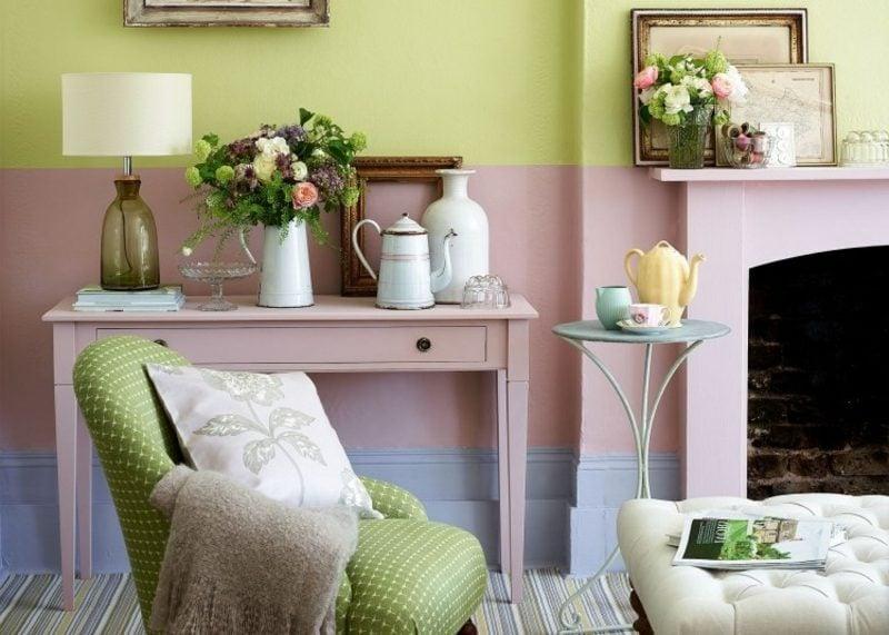 Farbe Altrosa und Minzgrün herrliche Farbkombination Wand