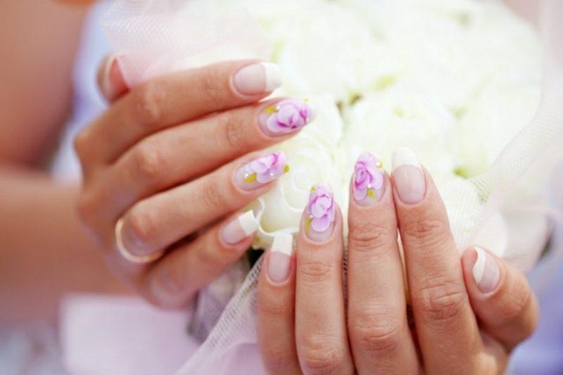 Nageldesign Hochzeit French Glitzersteine Rosen herrliches esign