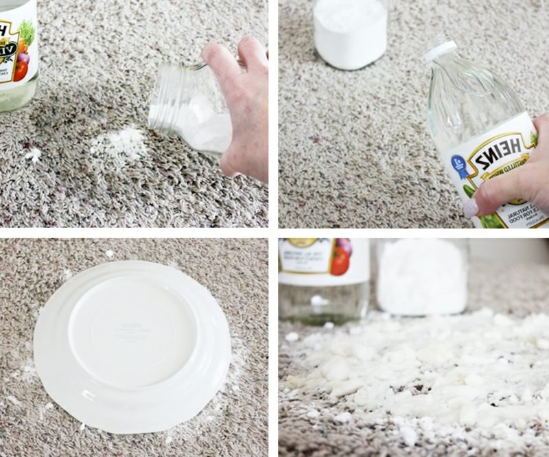 Flecken entfernen Fett Teppich mit Backsoda und Essig