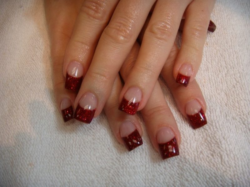 Nageldesign Spitzen French Nägel Gellack Rot