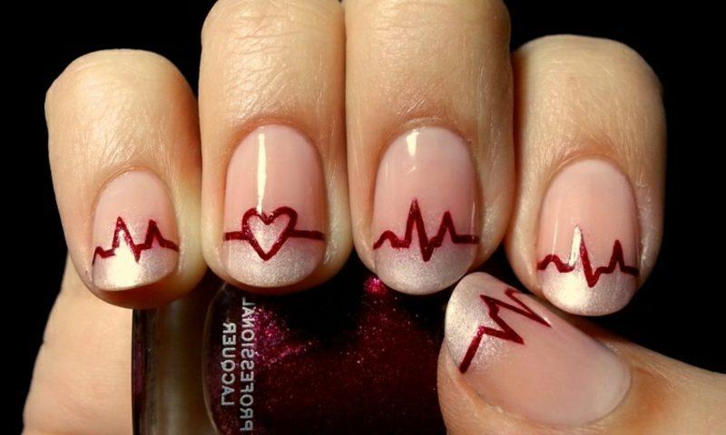 Nageldesign Spitz French Nails Muster originell Herz Herzschlag