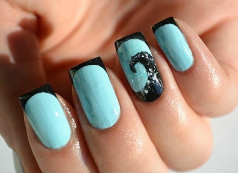 French Nails selber machen elegantes Design in Blau und Schwarz