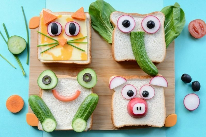 Kinderparty Essen sandwiches lustig