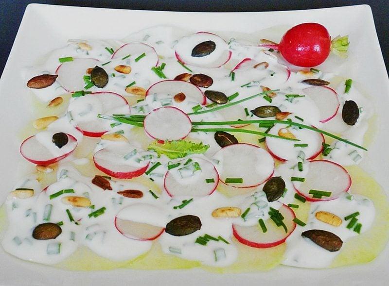 Radieschen gesund rezept salat mit Kohlrabi und Sahne-Dressing
