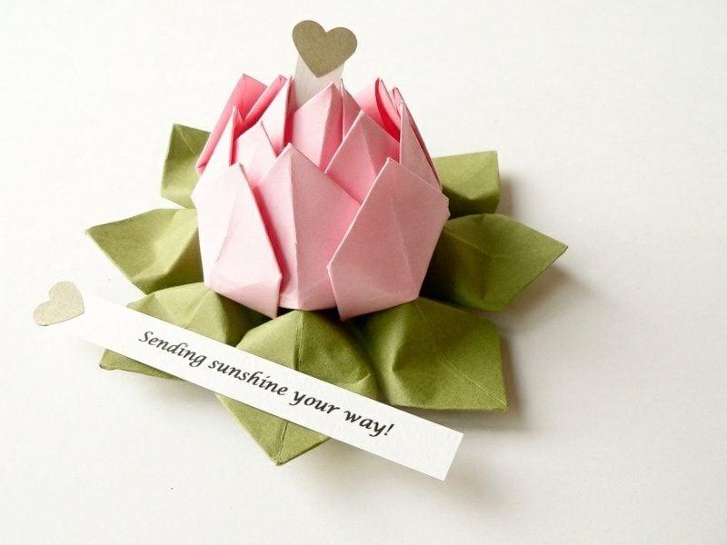 Origami Blume anstatt Geburtstagskarte kreativ