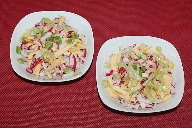 Radieschen Nährwerte Salat mit Äpfel und Lauchzwiebeln