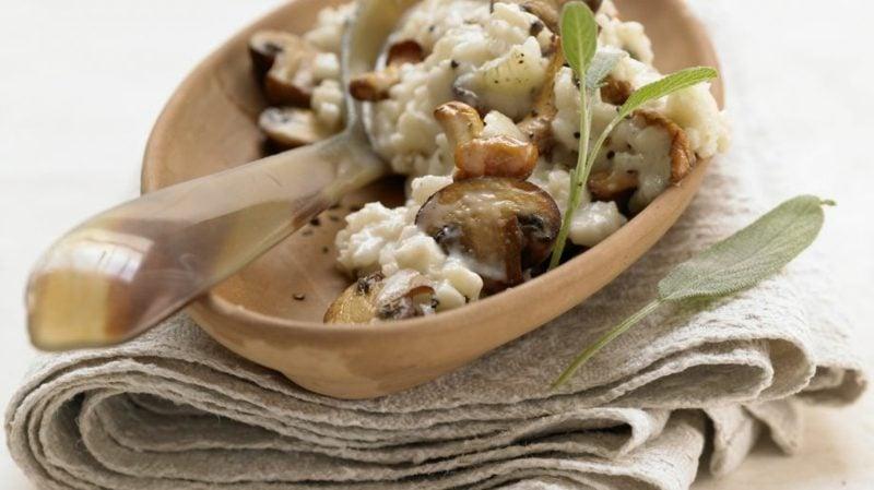vegetarische Gerichte mit Reis Risotto mit Pilzen