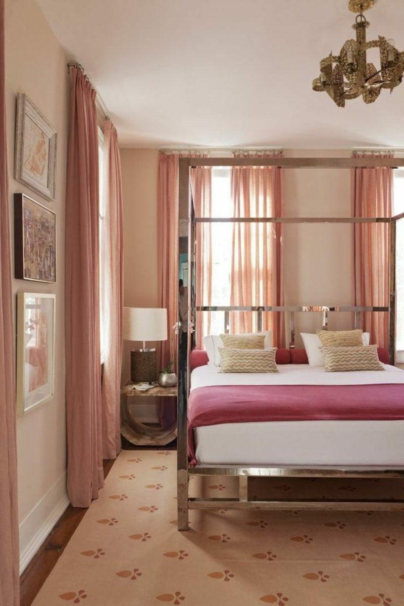 Wandfarbe Altrosa schöner Wohnen Gardinen Schlafzimmer