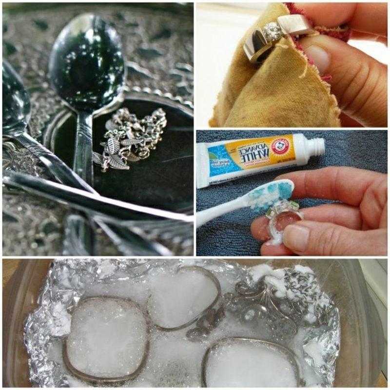 Hausmittel Silber reinigen Alufolie und Salz Zahnpasta