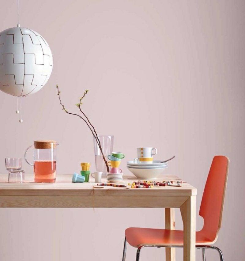 Wandfarbe Altrosa schöner Wohnen Essbereich romantischer Look