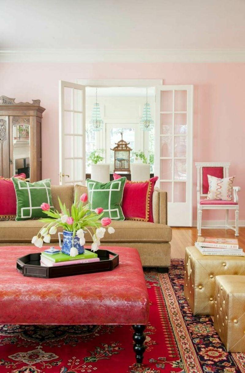 Altrosa Wandfarbe Wohnzimmer orientalischer Stil