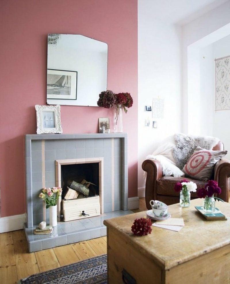 Wandfarbe Altrosa Akzentwand Wohnzimmer