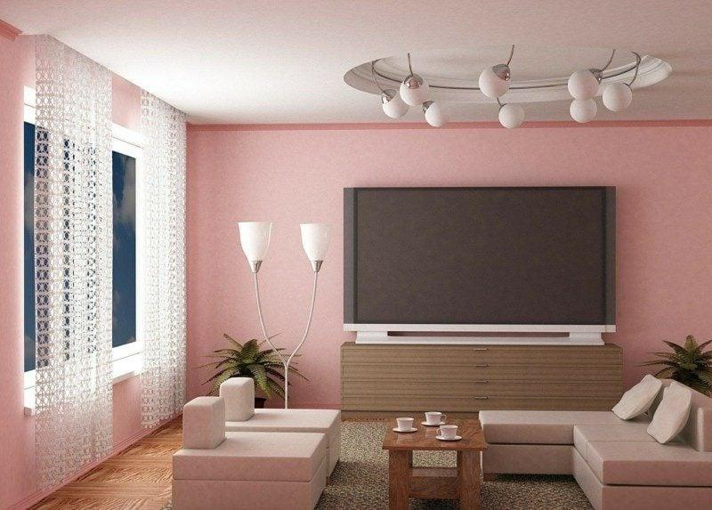 Farbe Altrosa Wand Wohnzimmer minimalistischer Stil