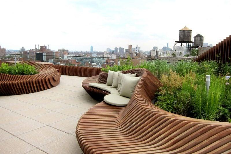 dachterrasse gestalten ideen tipps dach abdichten möbel kunststoff