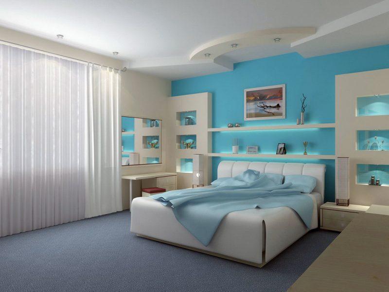 wandgestaltung schlafzimmer ideen blau wandfarbe